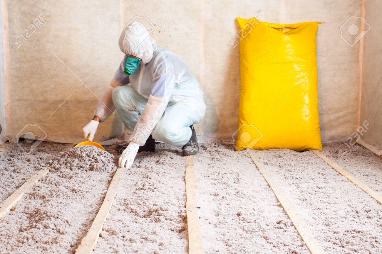 Arbeit Aus Zellstoff Isolierung In Den Boden Fussbodenheizung