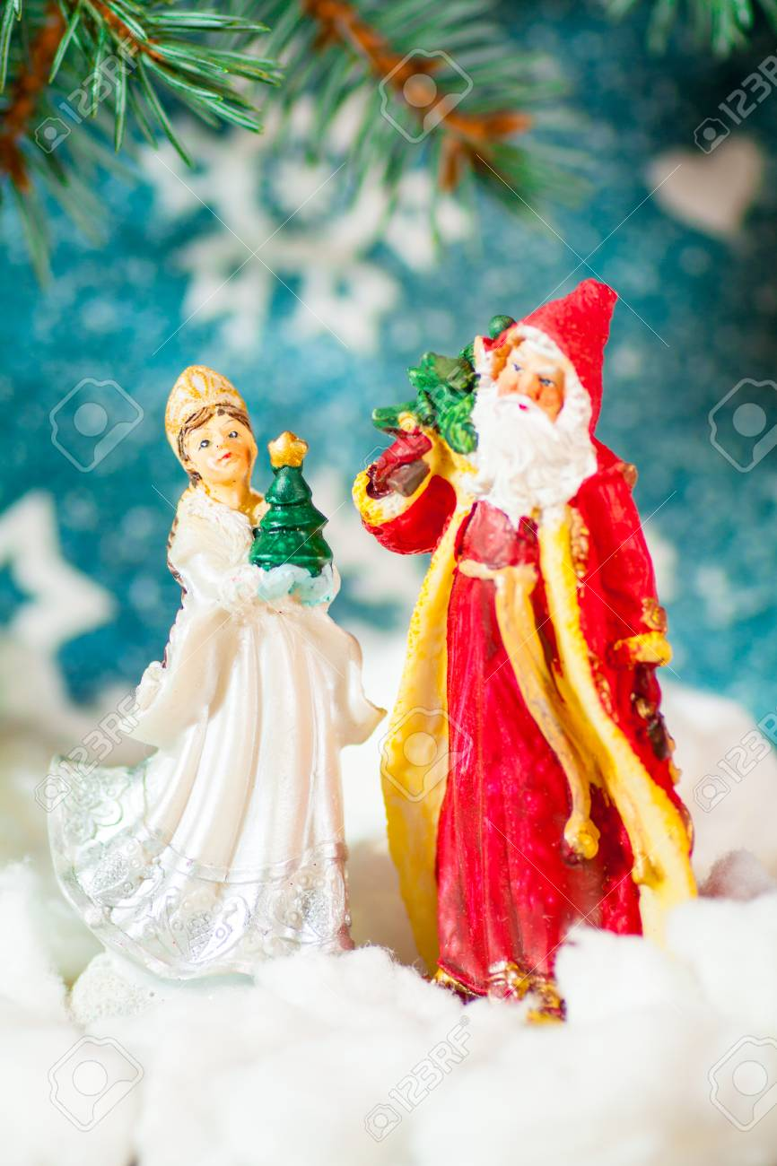 Russian Christmas.Christmas Card Background Santa Claus And Snow Maiden Russian