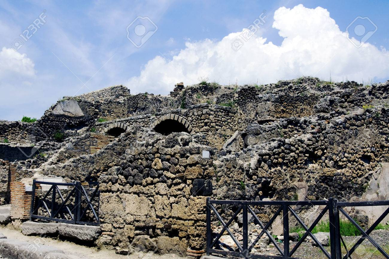 View Of Ruins Of City Pompeii Which Was Destroyed In 79 AD Of