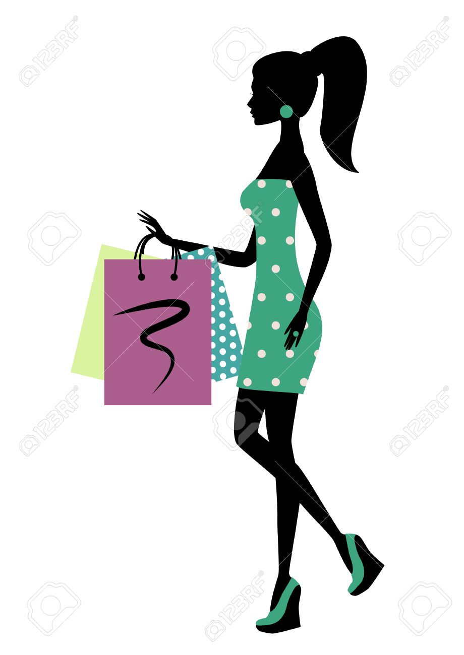 7134a65a98e7 Silhouette Of A Fashionable Shopping Woman