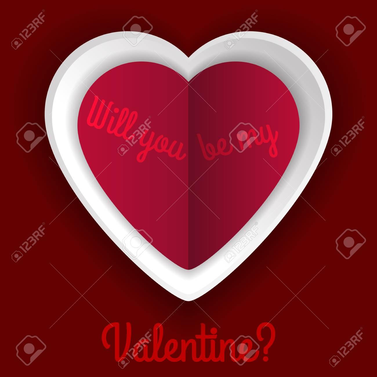 Tarjeta Del Día De San Valentín Con Corazones Grandes De Papel Y La