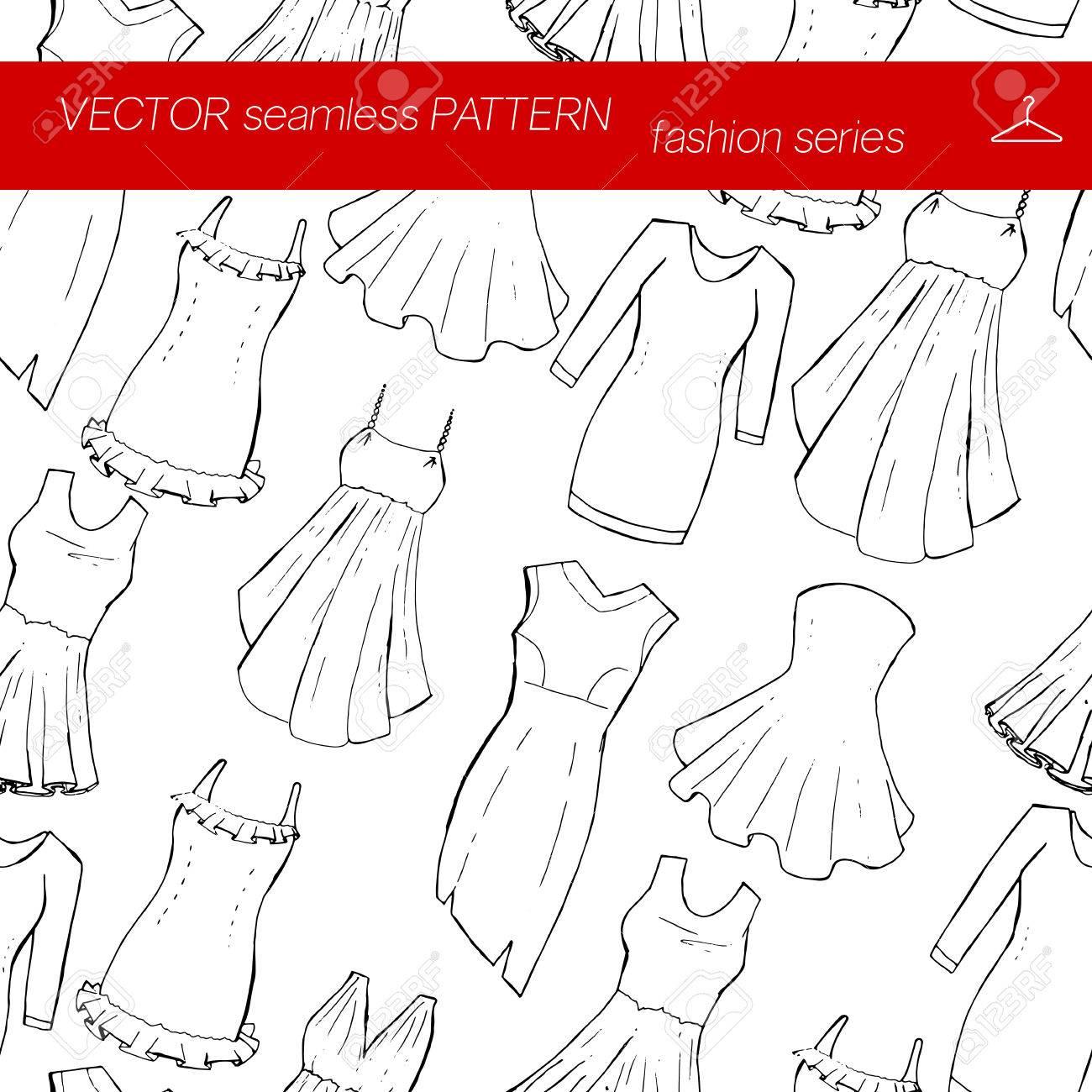 シームレス パターンファッションを設定します別のドレス手の描き