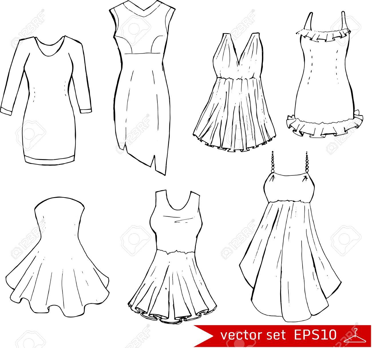 Establece La Moda Diferentes Vestidos Ilustración En Estilo De Dibujo A Mano