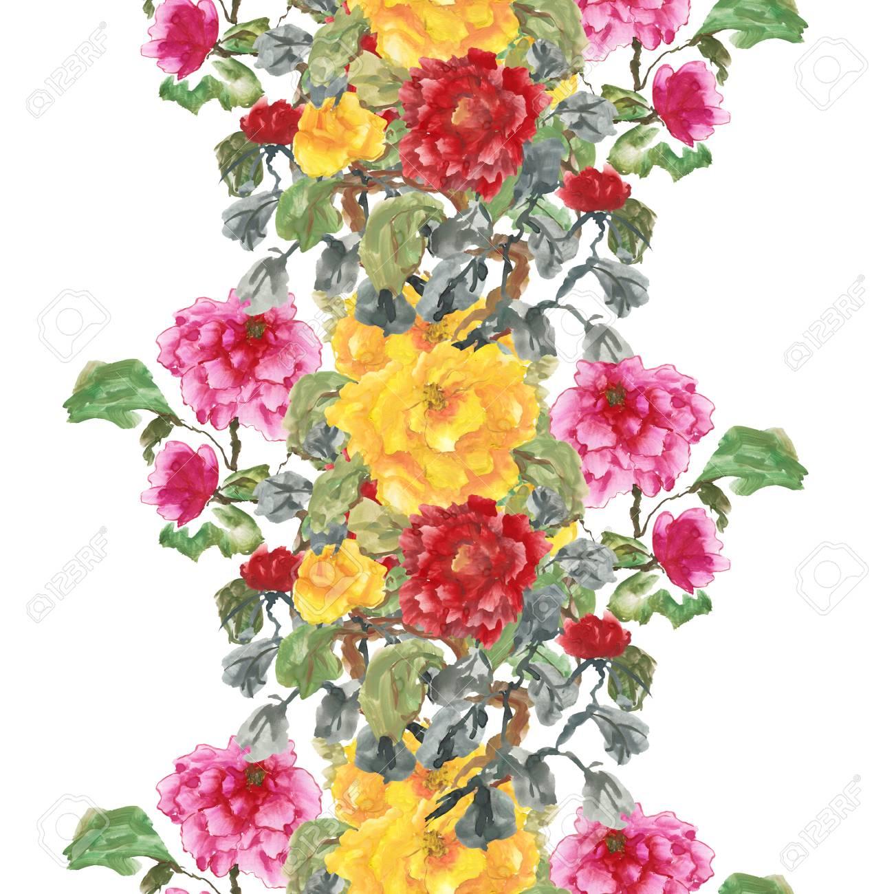 yellow flowers floral art roses watercolor painting original 4 x 6  Pink artichoke Peonies