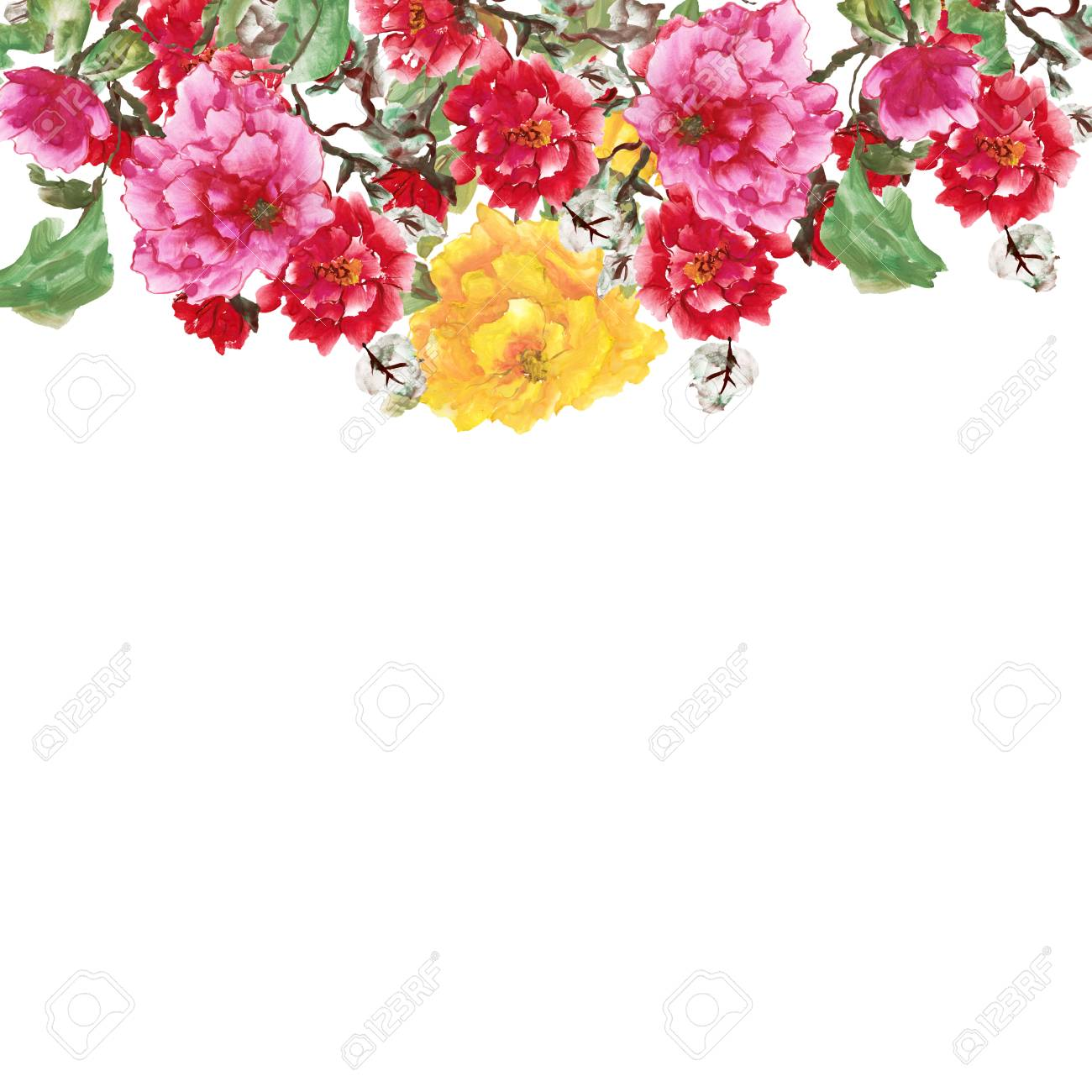watercolor background with peony pink yellow and red flowers