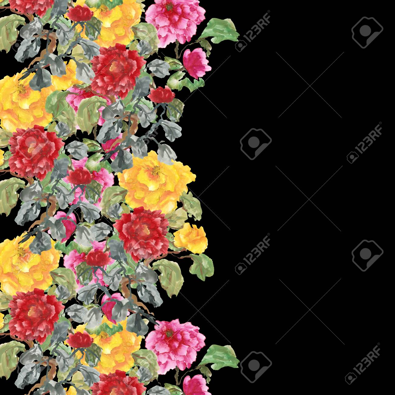 Watercolor Background With Peony Red Pink And Yellow Flowers