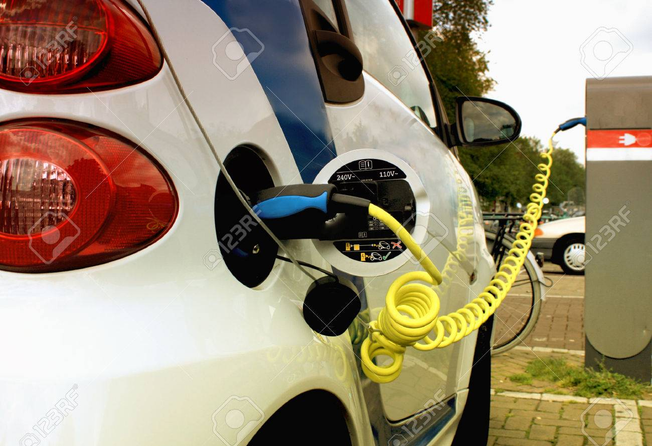 Electric car on the cable power - 45820133