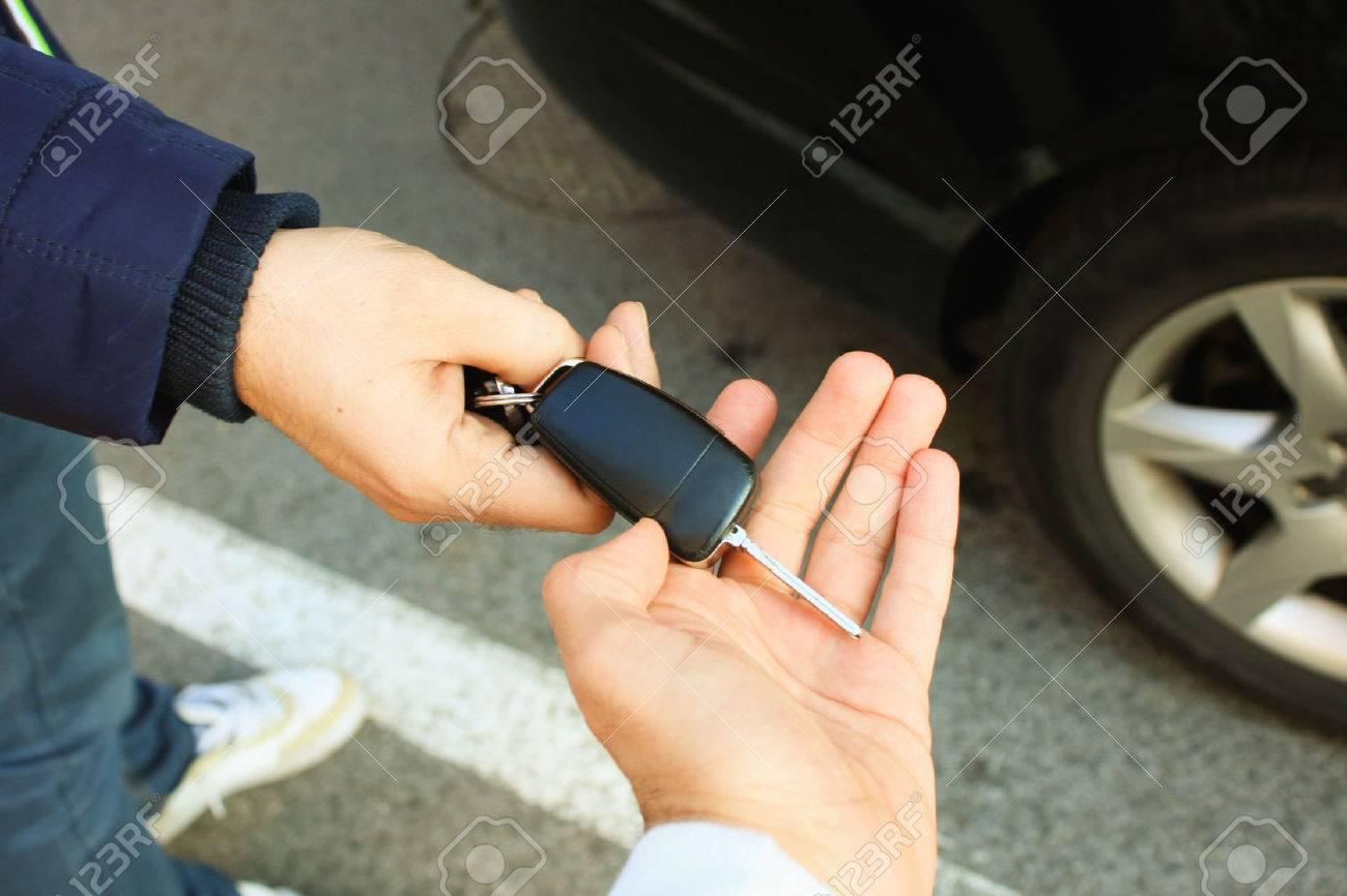 Buyer taking car key - 50174693