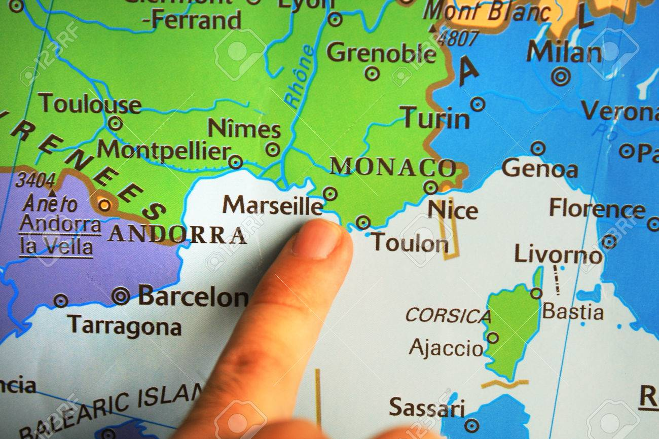 Map South Of France.Finger Pointed On A Map South France