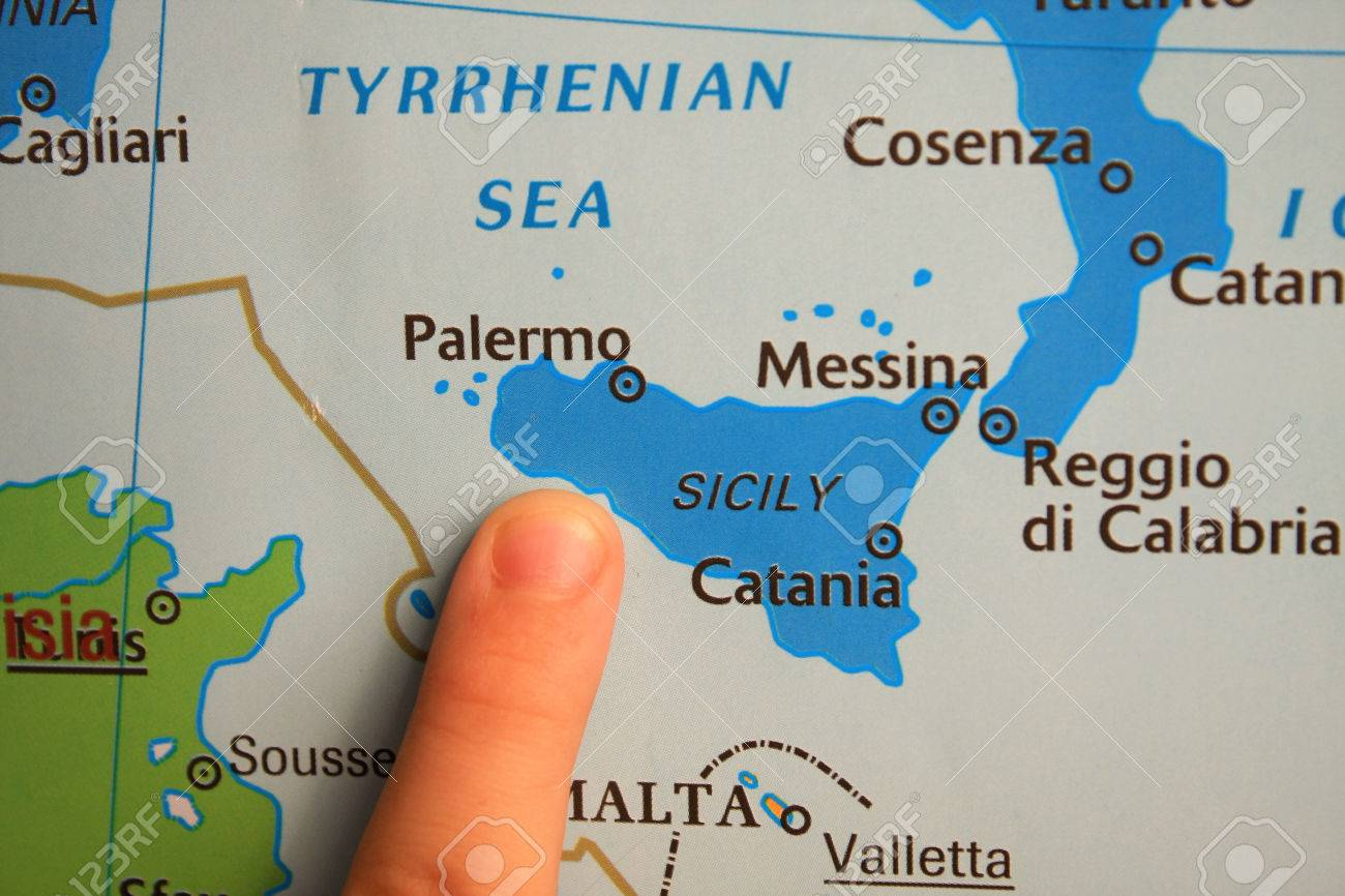 Showing Sicily On Map Stock Photo, Picture And Royalty Free Image ...