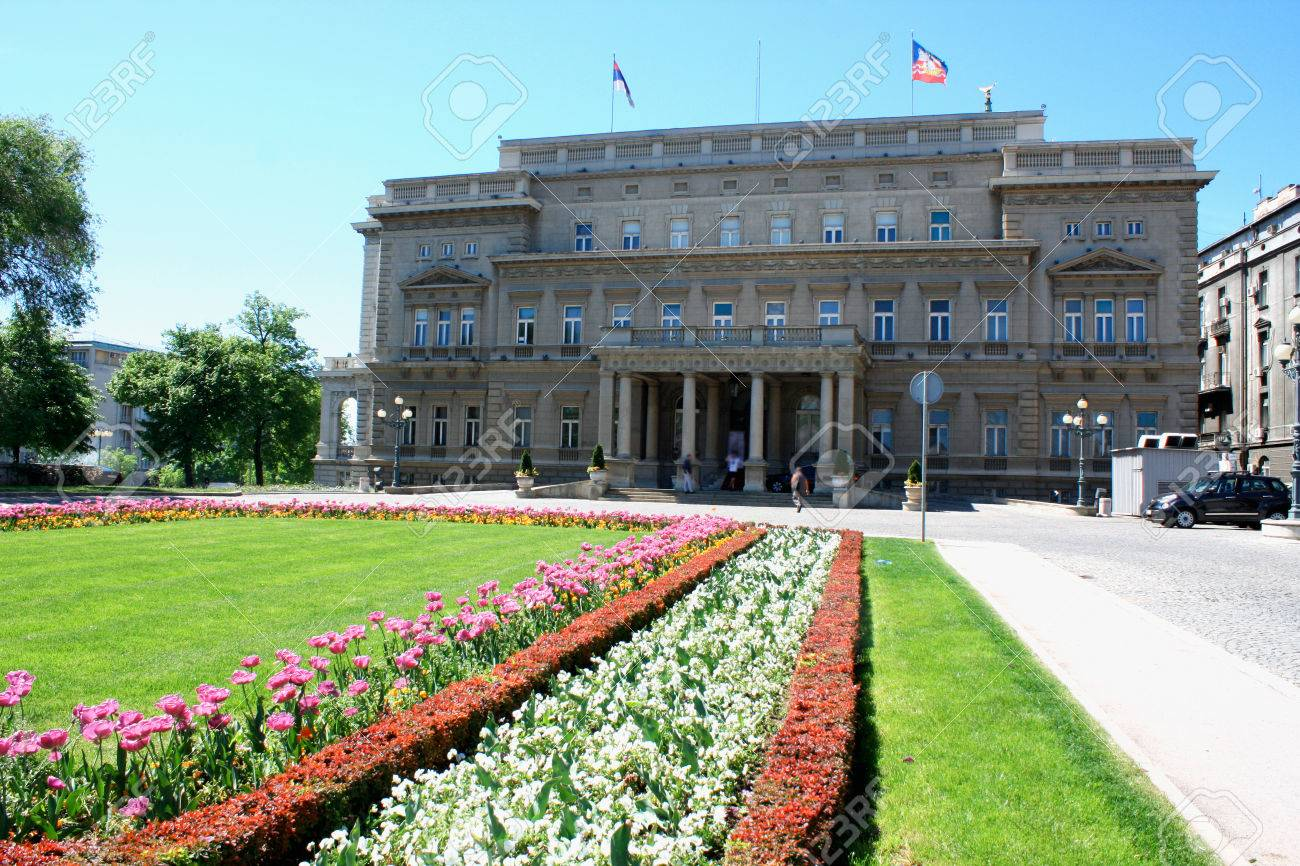 Belgrade, Serbia - famous Old Palace and flower gardens in the