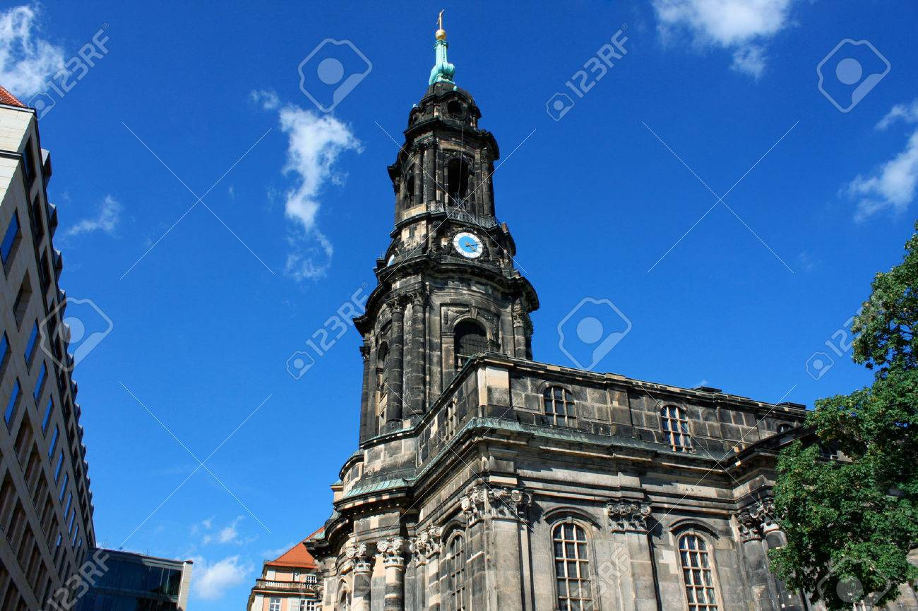 Kreuzkirche - Church of the Holy Cross in Dresden Germany is the largest church in Saxony - 69303015