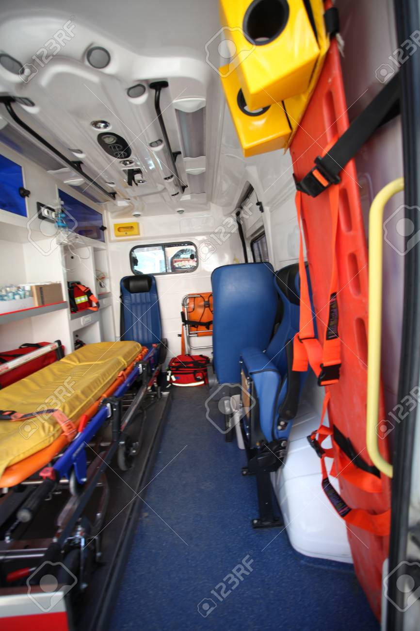 Ambulance car from inside and back space. - 90166350