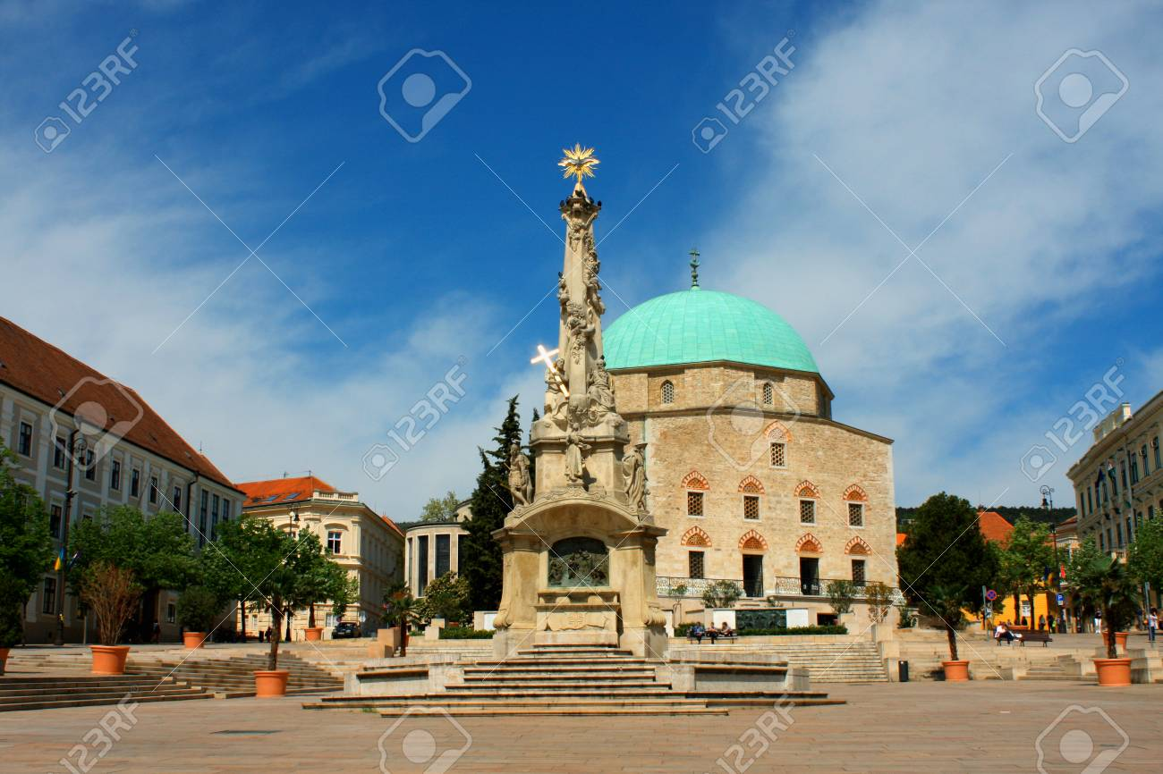 Szechenyi Square in Pecs with mosque, Southern Hungary. - 96587089