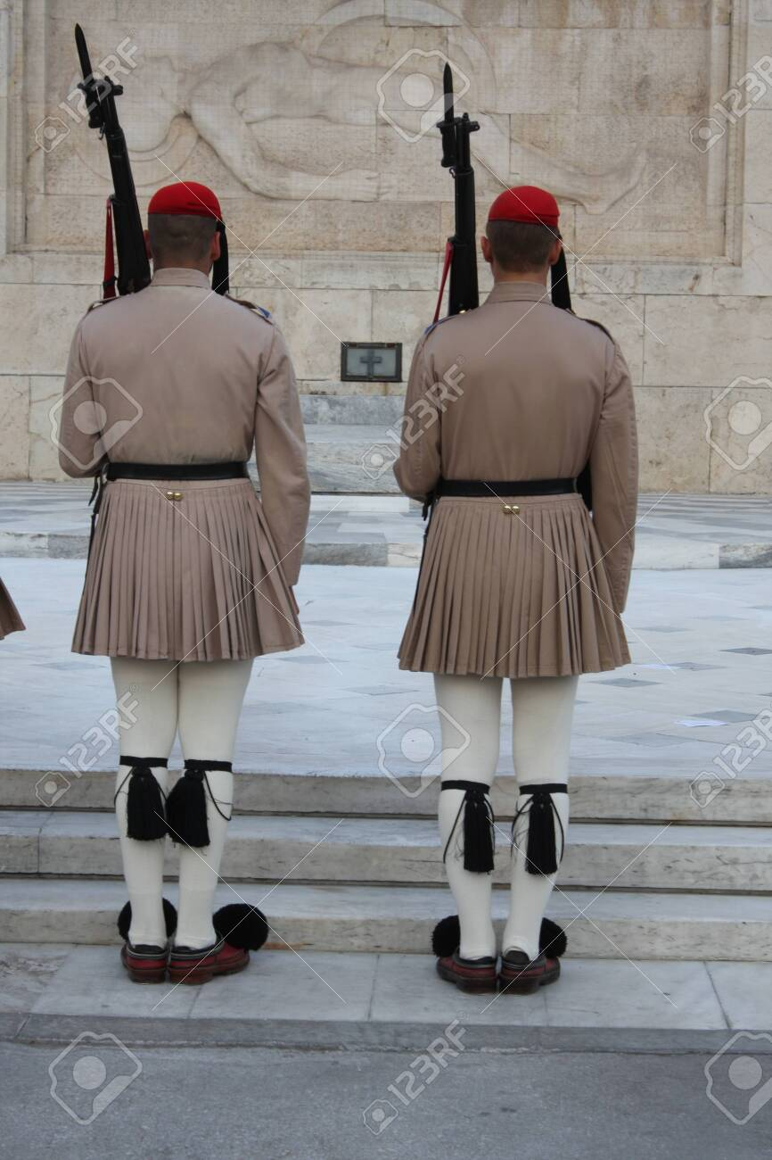 the Evzones or Evzonoi - Greek soldiers. This is the name of several historical elite light infantry and mountain units of the Greek Army - 148972891