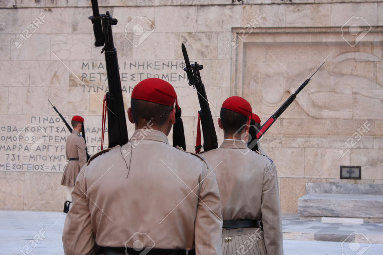 the Evzones or Evzonoi - Greek soldiers. This is the name of several historical elite light infantry and mountain units of the Greek Army - 148972895