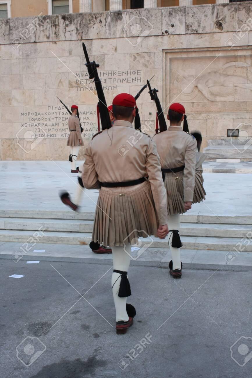 the Evzones or Evzonoi - Greek soldiers - 148932101