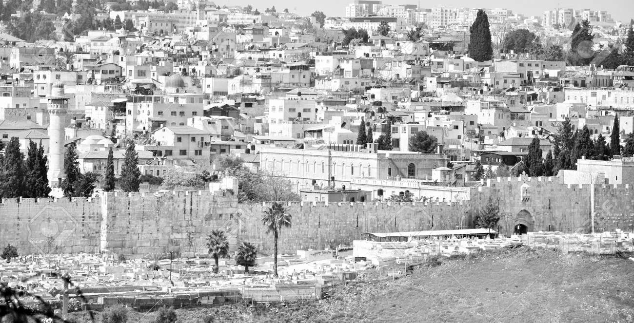 Jerusalem Cityscape, Israel with old town walls in Holy Land. - 153448381