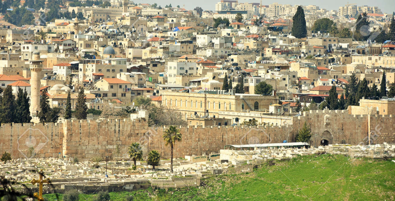 Jerusalem Cityscape, Israel with old town walls in Holy Land. - 153448385