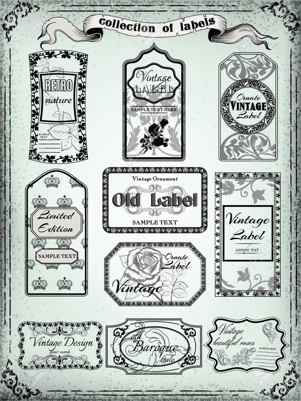 Collection of vintage labels for design Victorian style