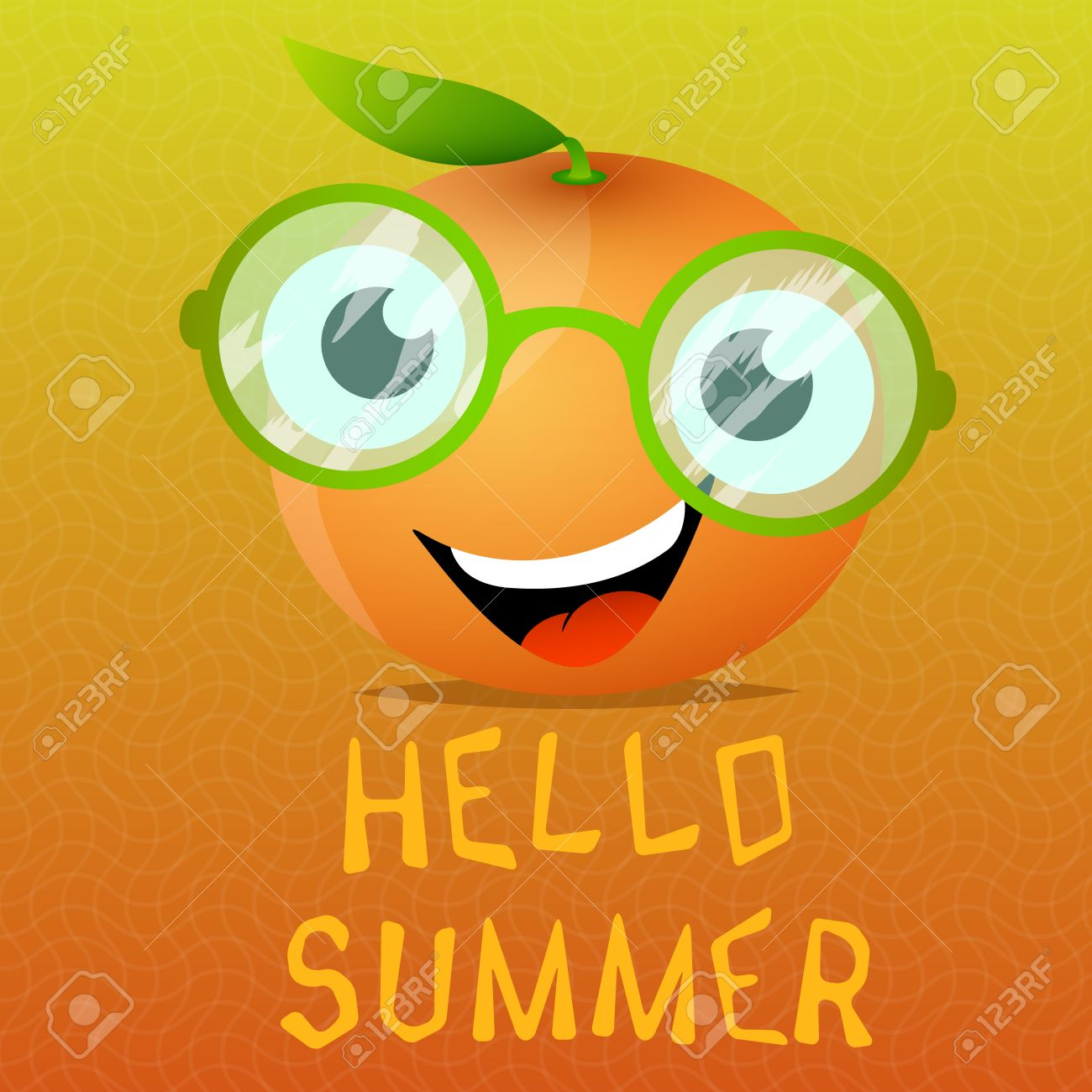 Incroyable Funny Cartoon Orange In The Eyeglasses.Citrus Fruit For Juice Advertising .Hello  Summer.