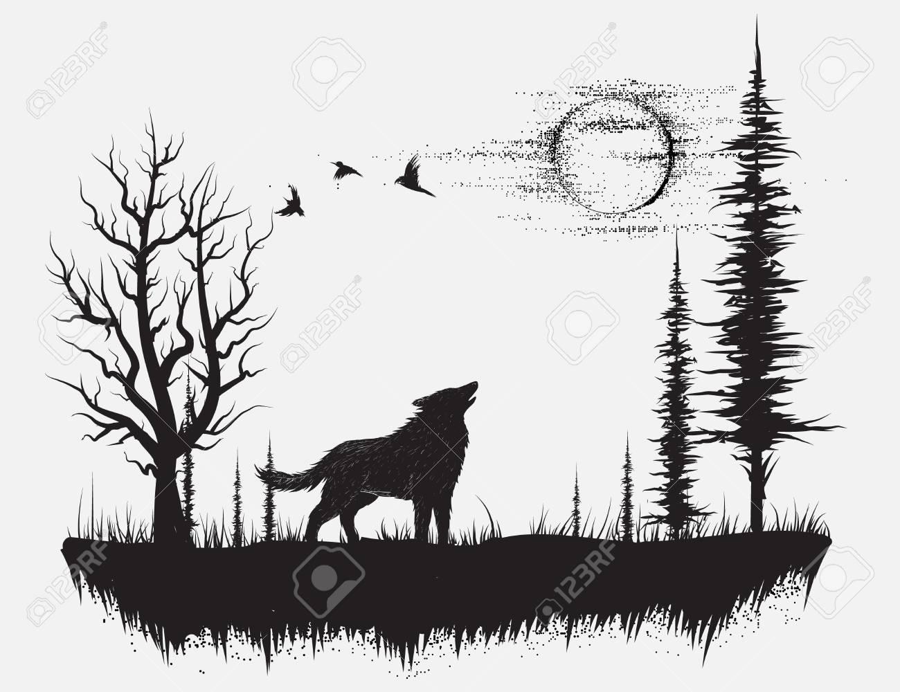 Lobo Aullando A La Luna En El Bosque Ilustración De Vector Dibujado