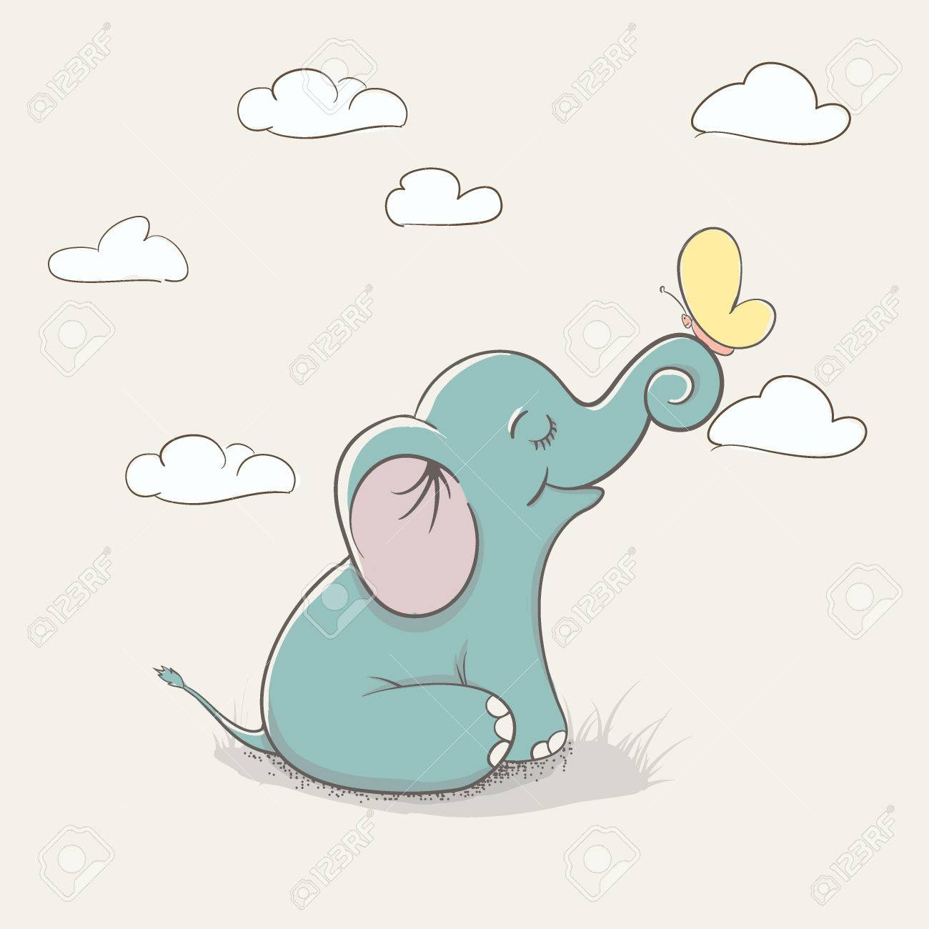 Dessin Anime Enfant Elephant Assis Sur La Terre Et Jouant Avec Papillon Conception Enfantine Pour Les T Shirts Robe Ou Cartes De Voeux D Enfant Clip Art Libres De Droits Vecteurs Et Illustration
