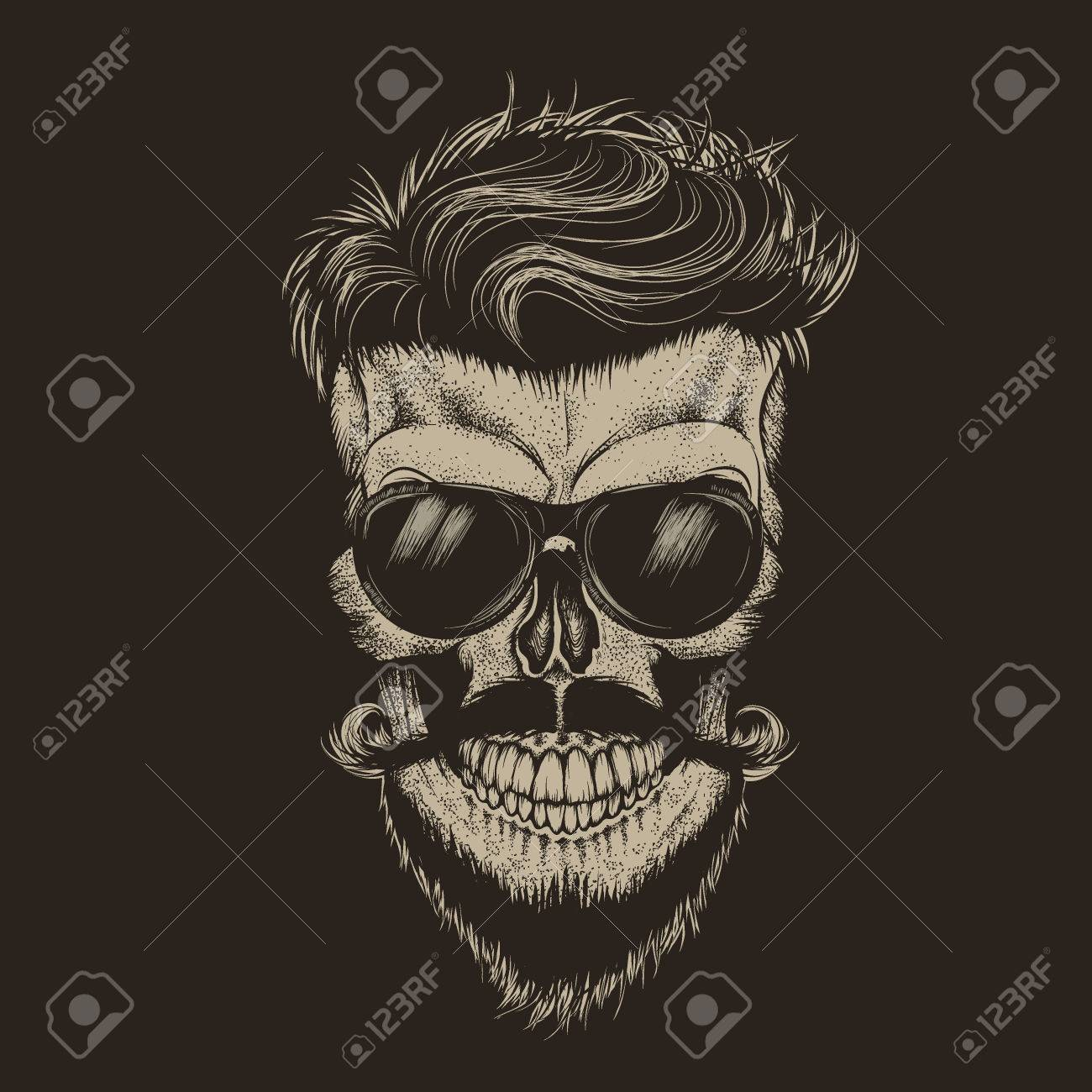 Hipster Skull With Hairstyle Isolated On Black Background Fashion