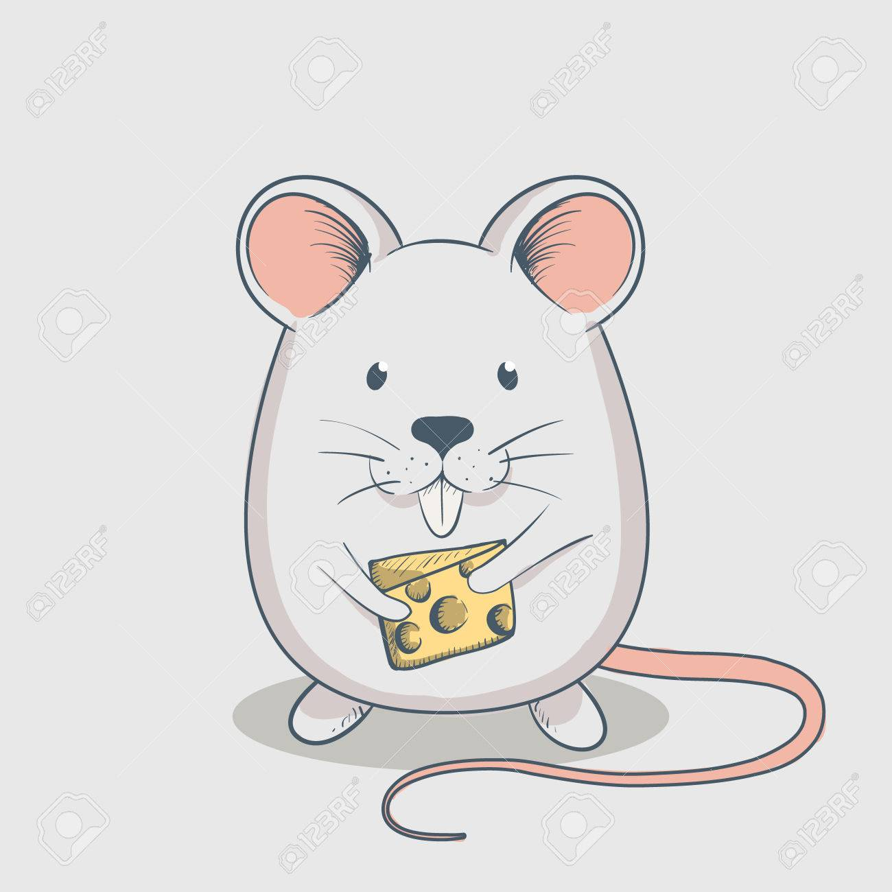 funny mouse keeps cheese cartoon childish vector illustration