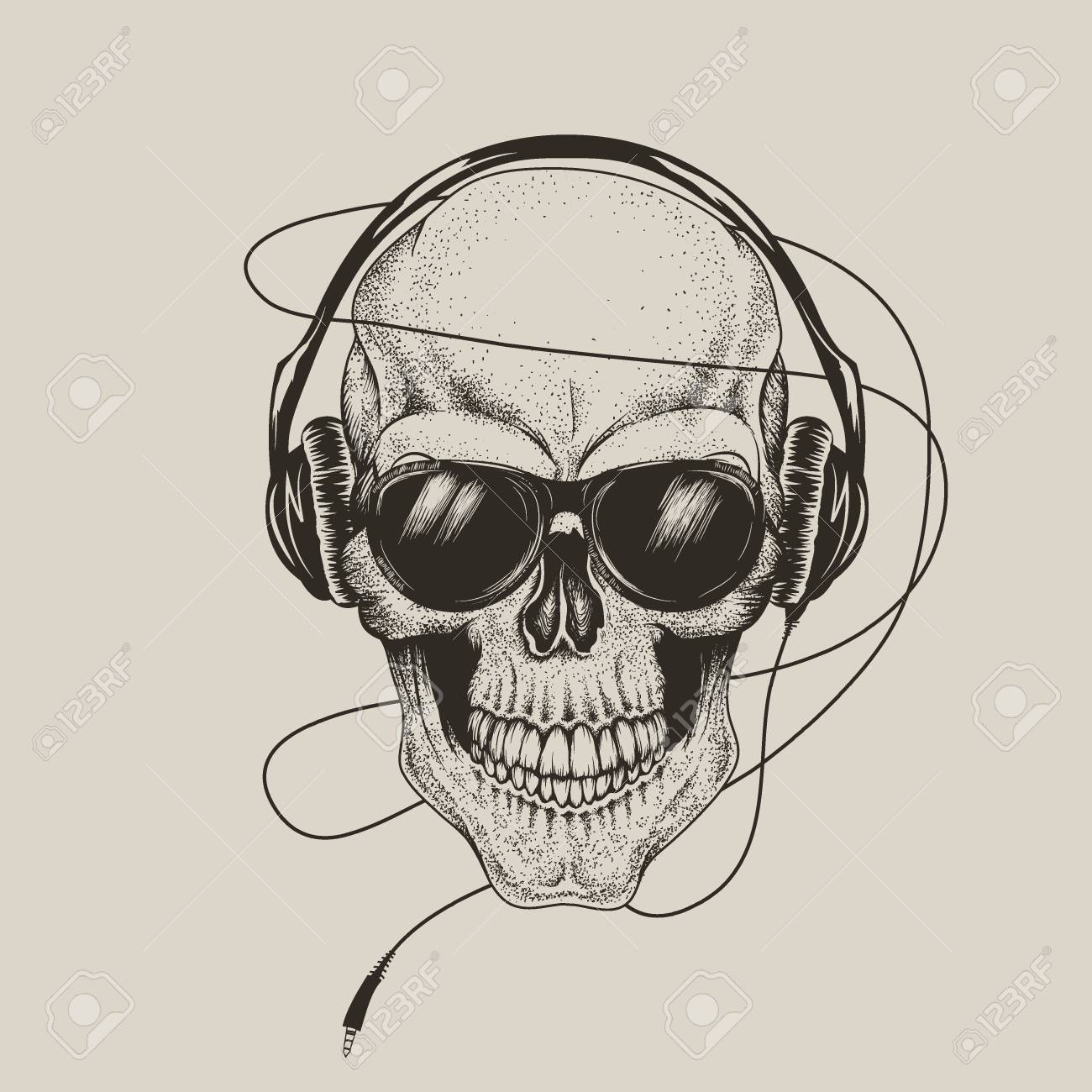 e125b34a skull in headphones and sunglasses.Prints design for t-shirts or tattoo  Stock Vector