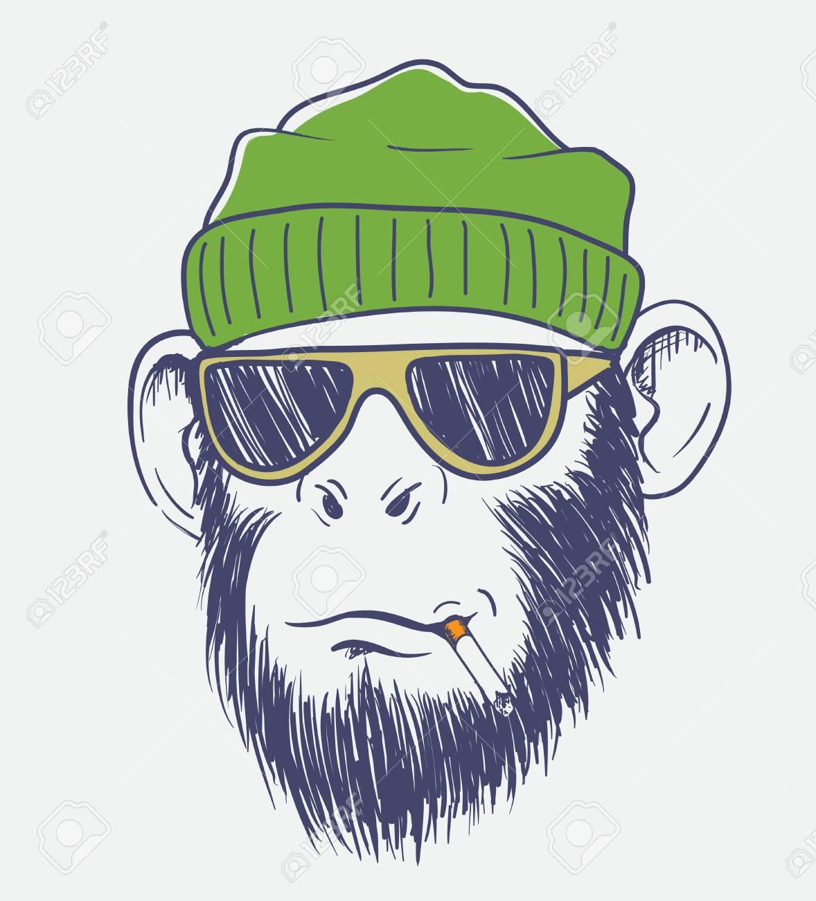 クールな猿はタバコを吸います手描きの背景イラストのイラスト素材