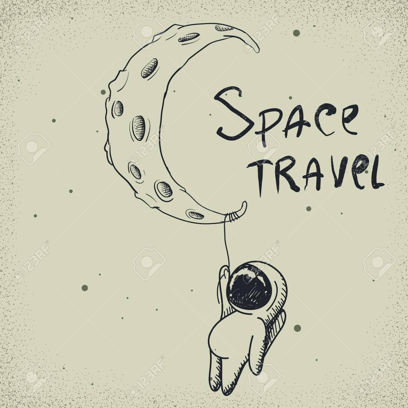かわいい宇宙飛行士は月から保持しています手描きスタイル幼稚な