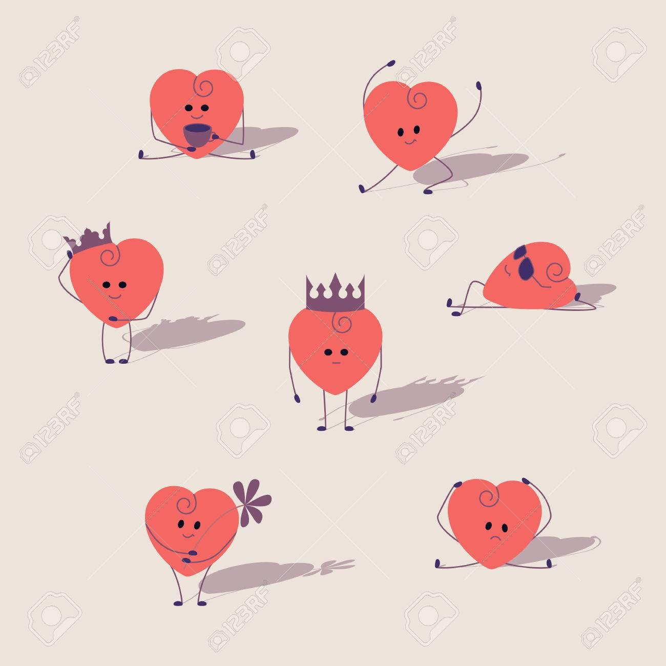 Set Von Rosa Herzen Cartoon Herzen Mit Verschiedenen Ausdrucken
