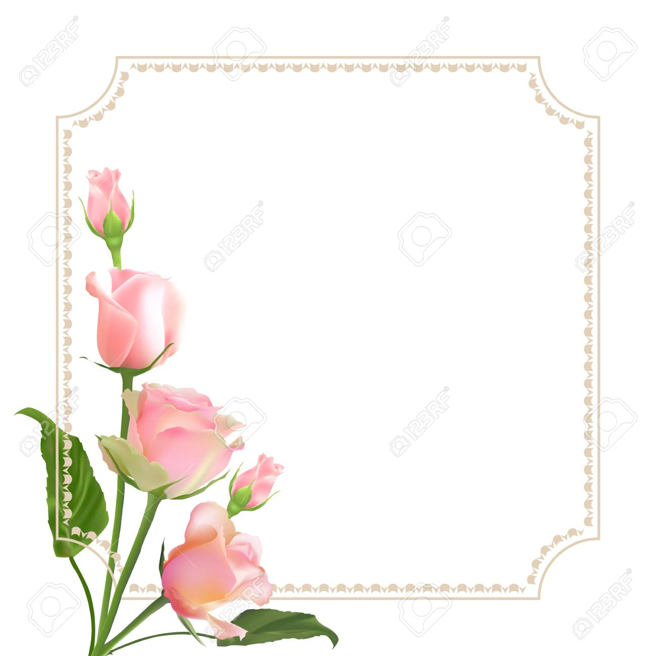 realistic vector roses on white background with border greeting rh 123rf com  free clipart mothers day borders