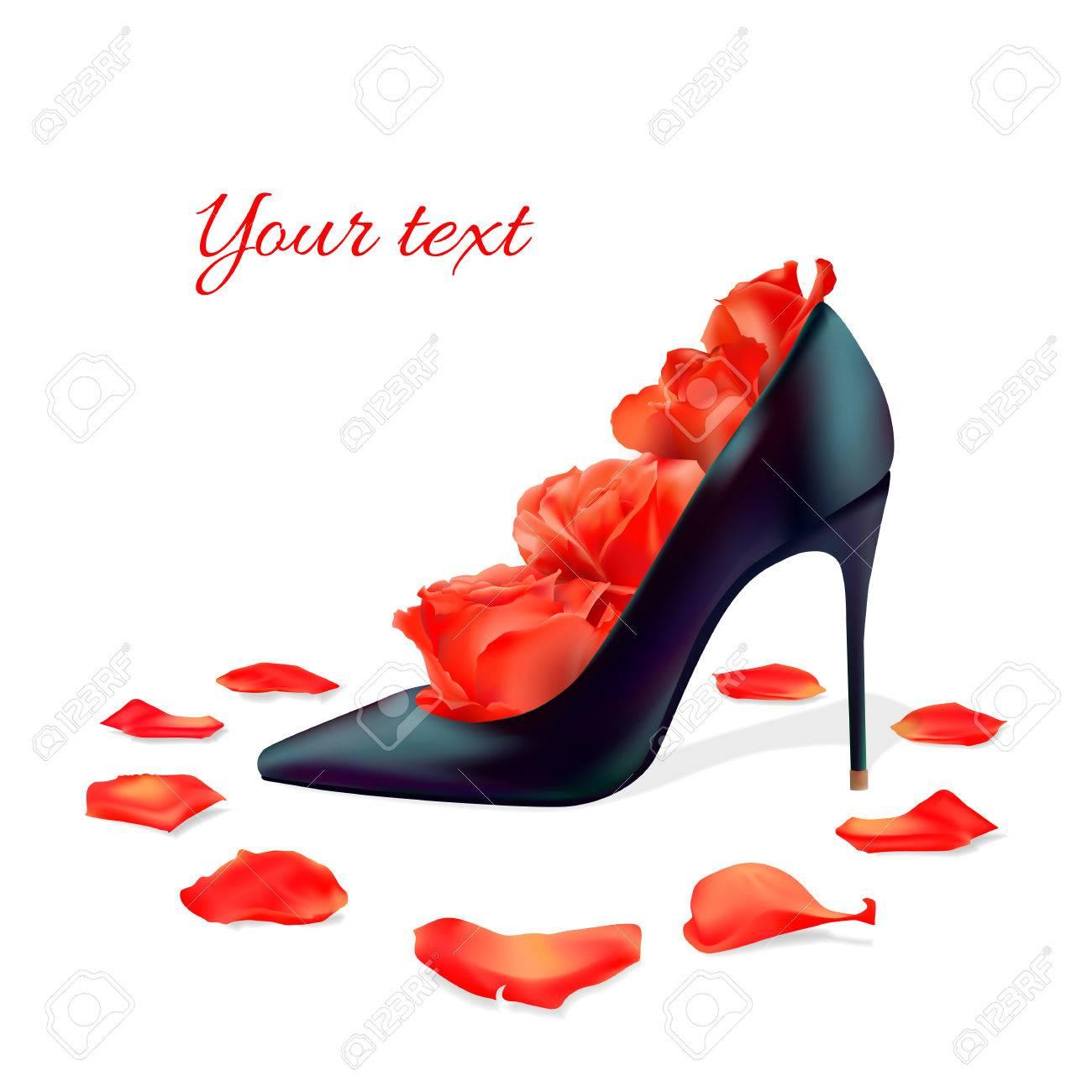 Black Shoes, Red Roses Inside, Rose