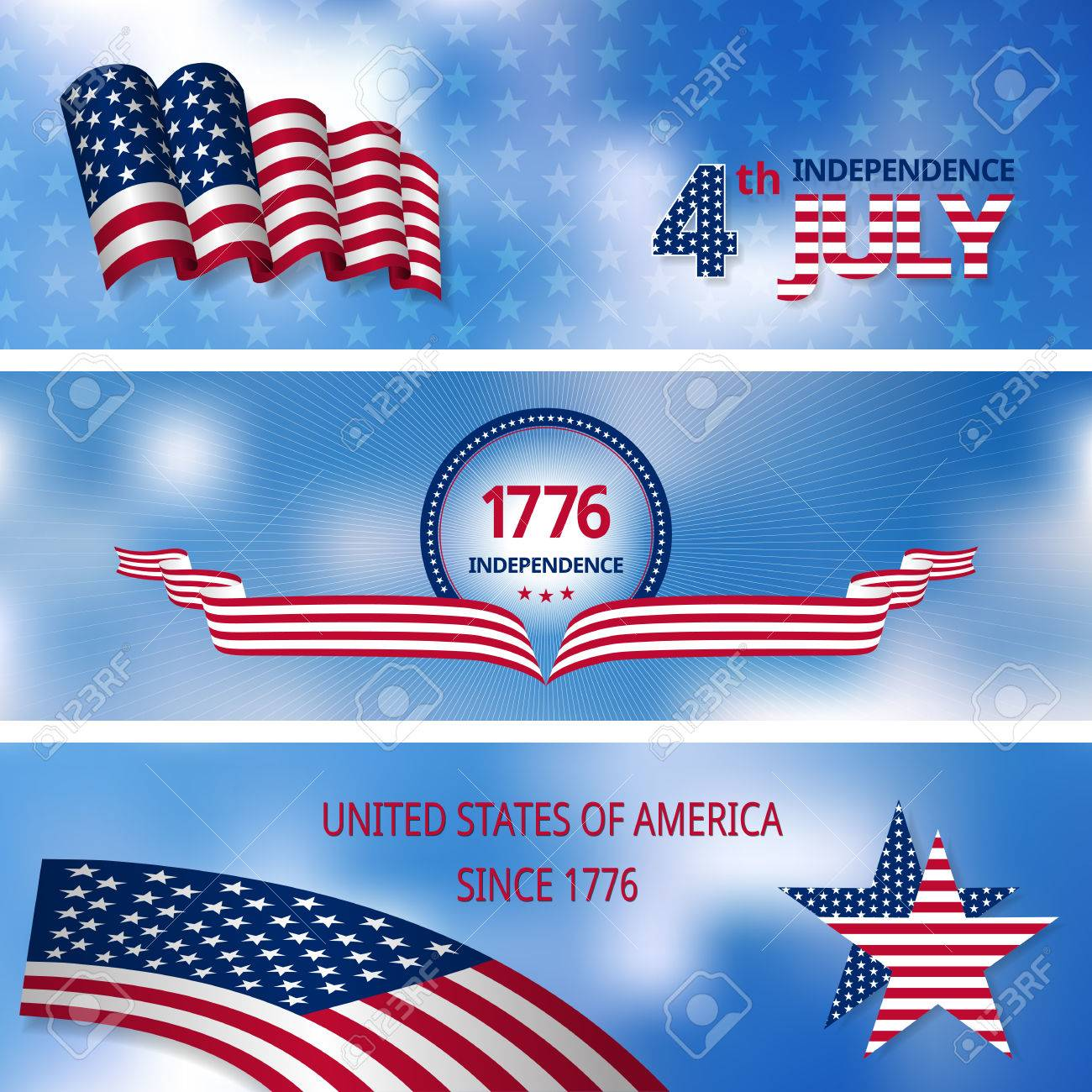 Three Banners With The Symbol Of Americas Independence Flag Stars