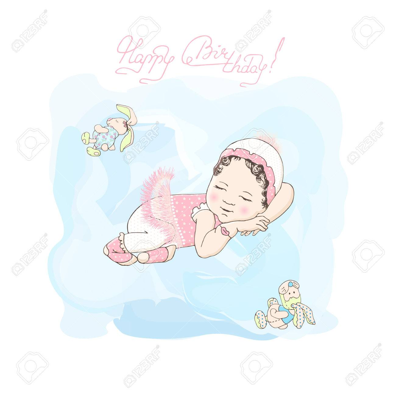 Sleeping Girl With Toys Poster Little Girl Happy Birthday Card – Happy Birthday Card for Little Girl