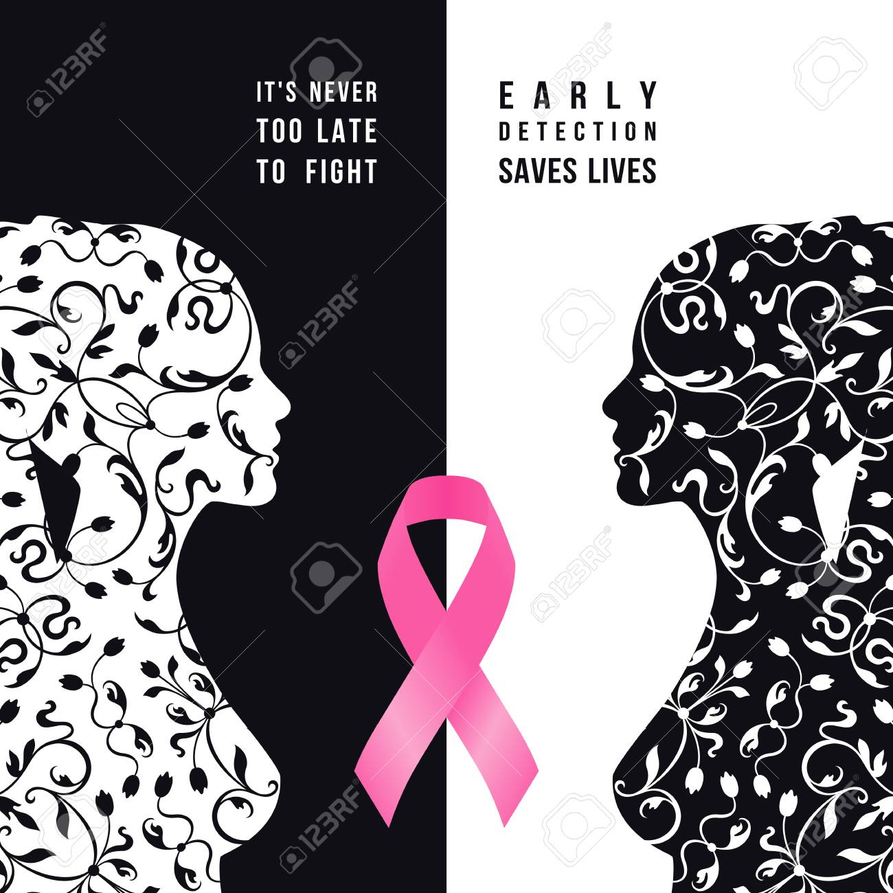 Breast Cancer Awareness Month White And Black Women Silhouette Royalty Free Cliparts Vectors And Stock Illustration Image 66021043