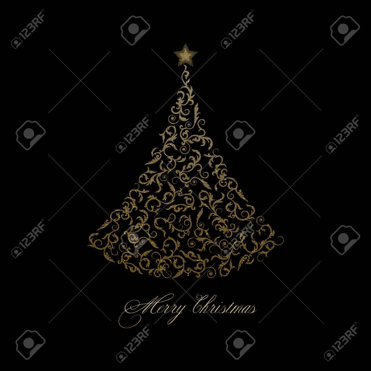 Golden Tree With Star On A Black Background Ornamental Christmas Royalty Free Cliparts Vectors And Stock Illustration Image 67664324