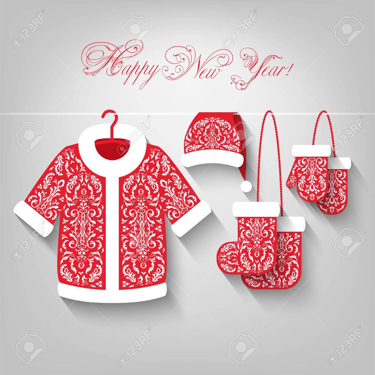 Weihnachten Kleidung Hängt An Einem Seil Auf Hellgrauem Hintergrund ...