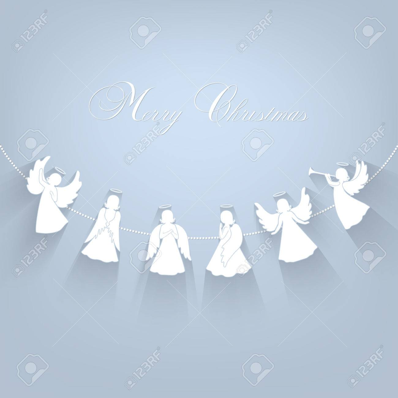 Vector white angels with simple wings and halo on a light grey background vector isolated angel silhouettes with shadow hanging on a cord