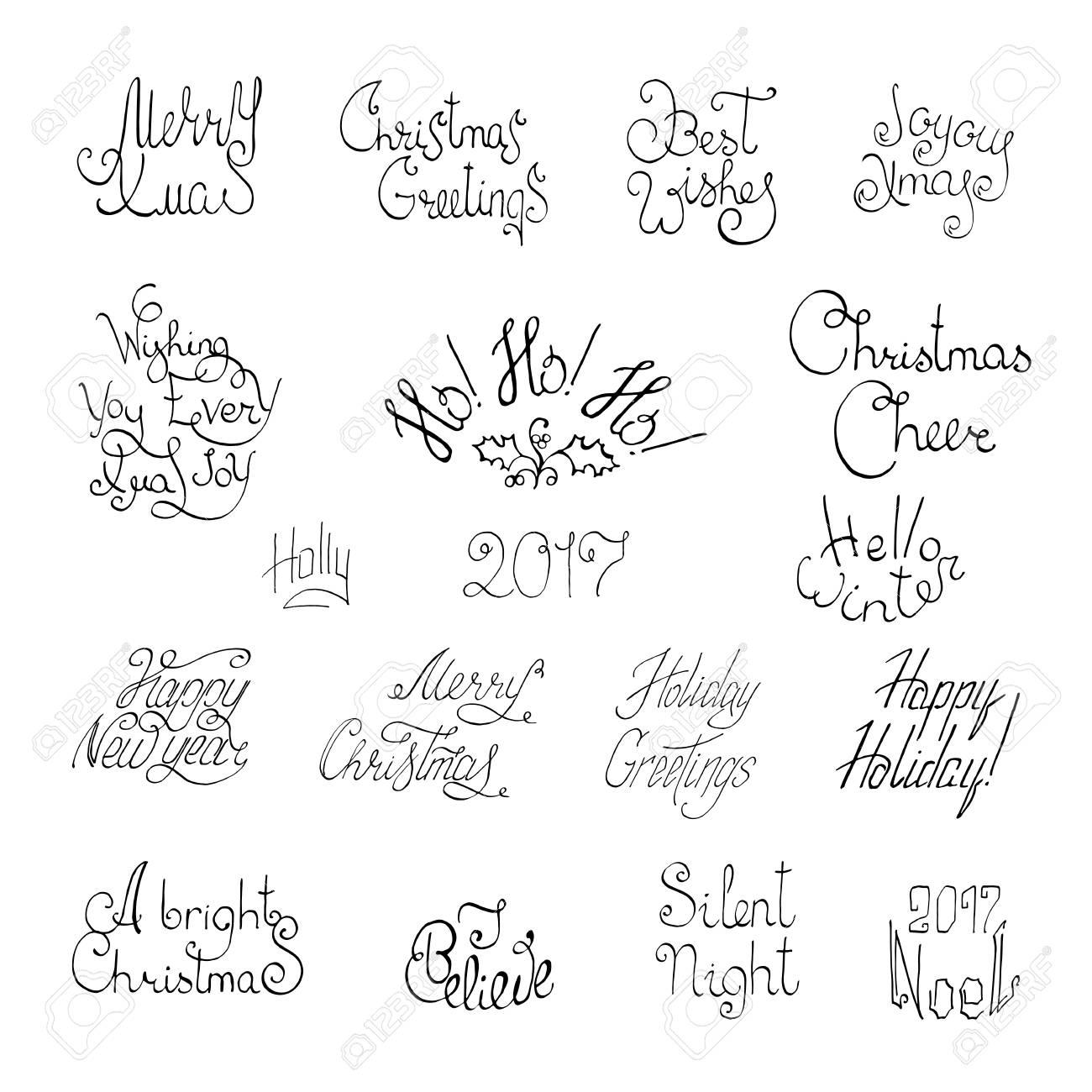 Joyeux Nouvel An Et Joyeux Noël Main Lettrage Pour Cartes De Voeux
