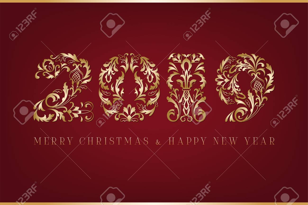 horizontal banner happy new year and merry christmas russian text on black background greeting card