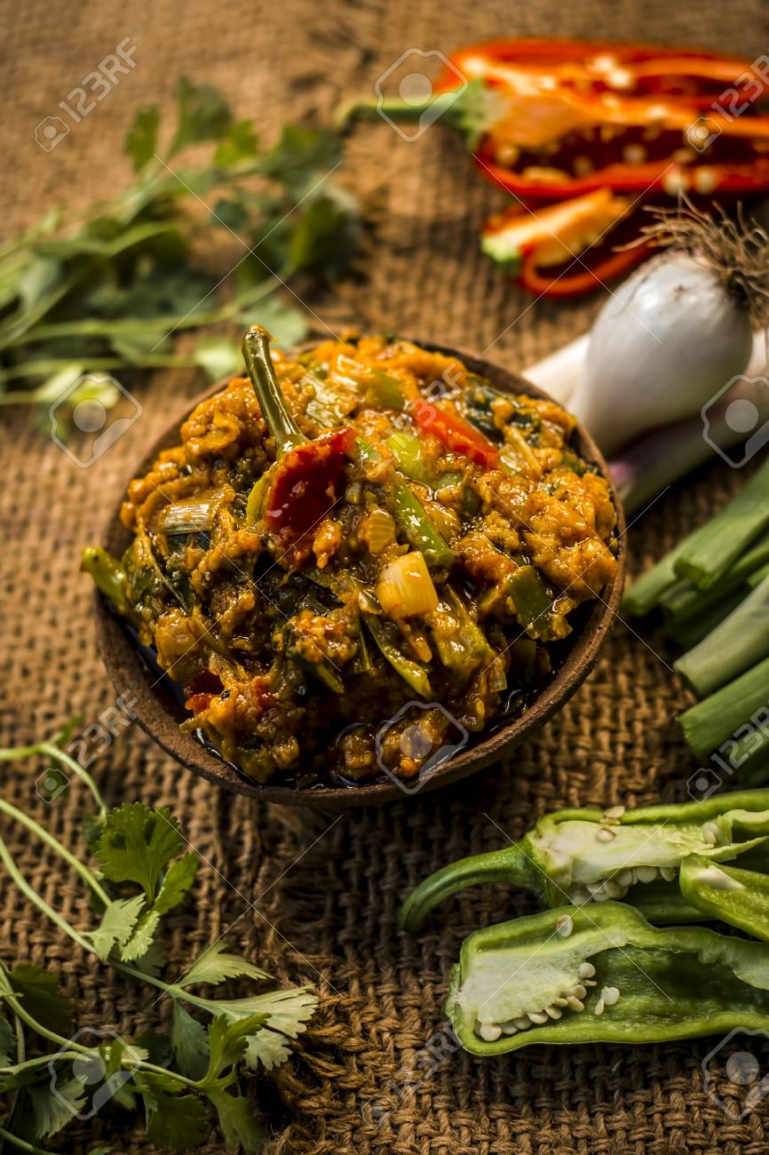 Close up of indian dish eaten in winter season baingan ka bharta close up of indian dish eaten in winter season baingan ka bharta with vegetables like forumfinder Gallery