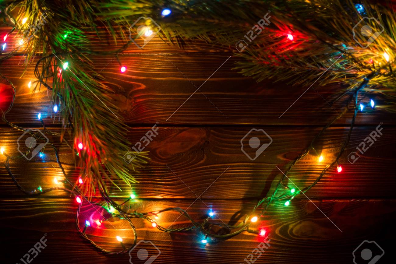 Colorful Christmas Lights Background.Wreath And Garlands Of Colored Light Bulbs Christmas Background