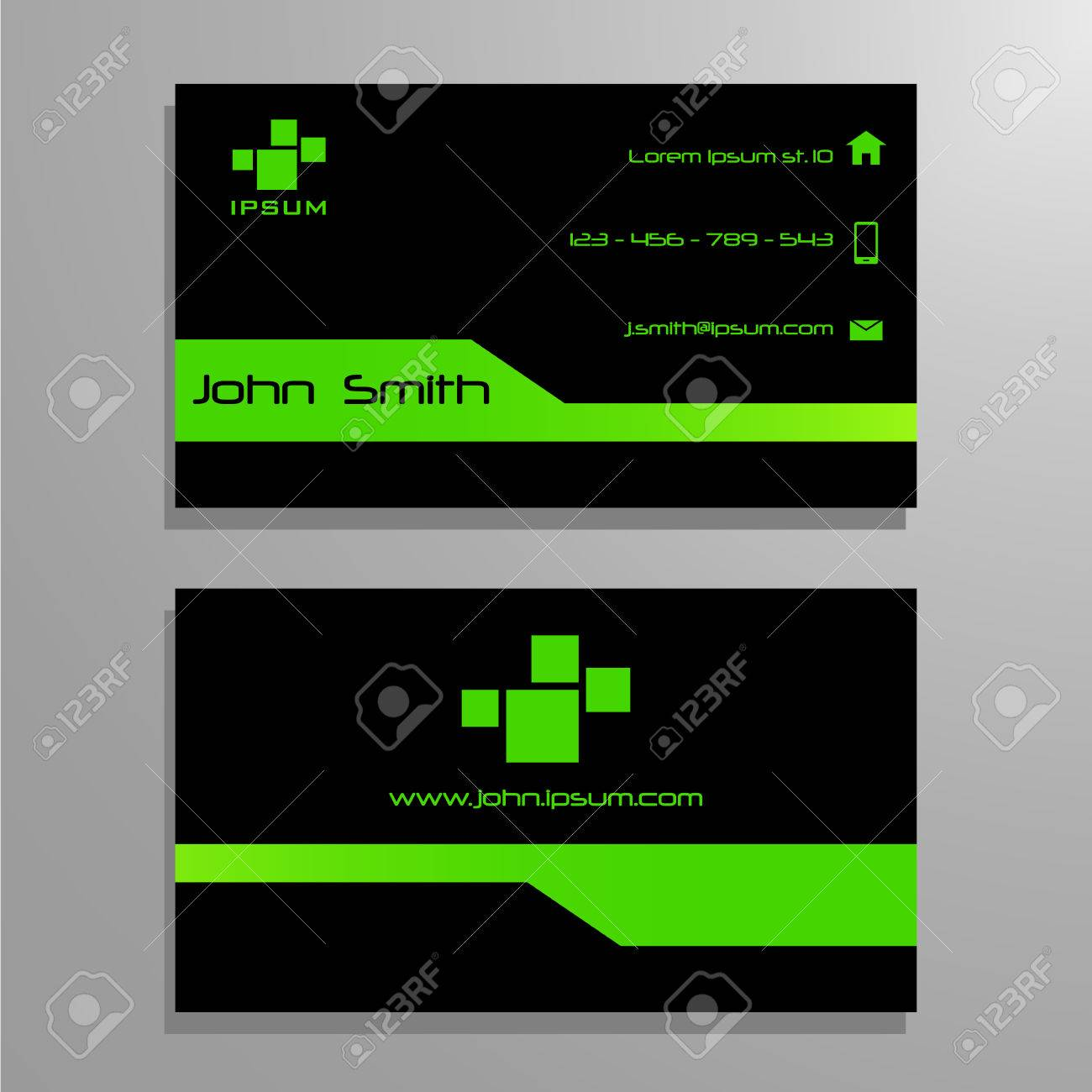 Business Visit Card Template - Green And Black Royalty Free Cliparts ...