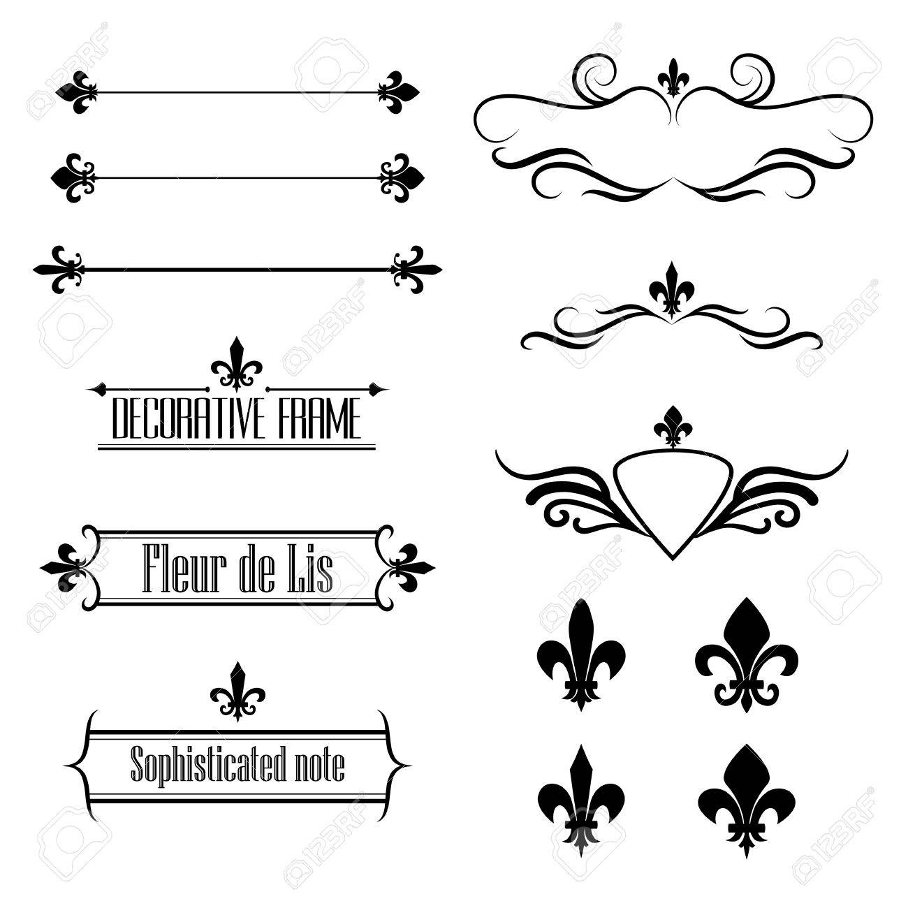 Set Of Calligraphic Flourish Design Elements Borders And Frames