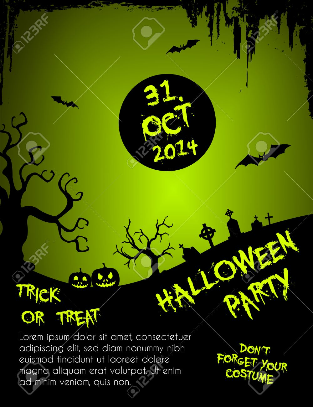 Halloween Party Flyer Template - Green And Black Royalty Free ...