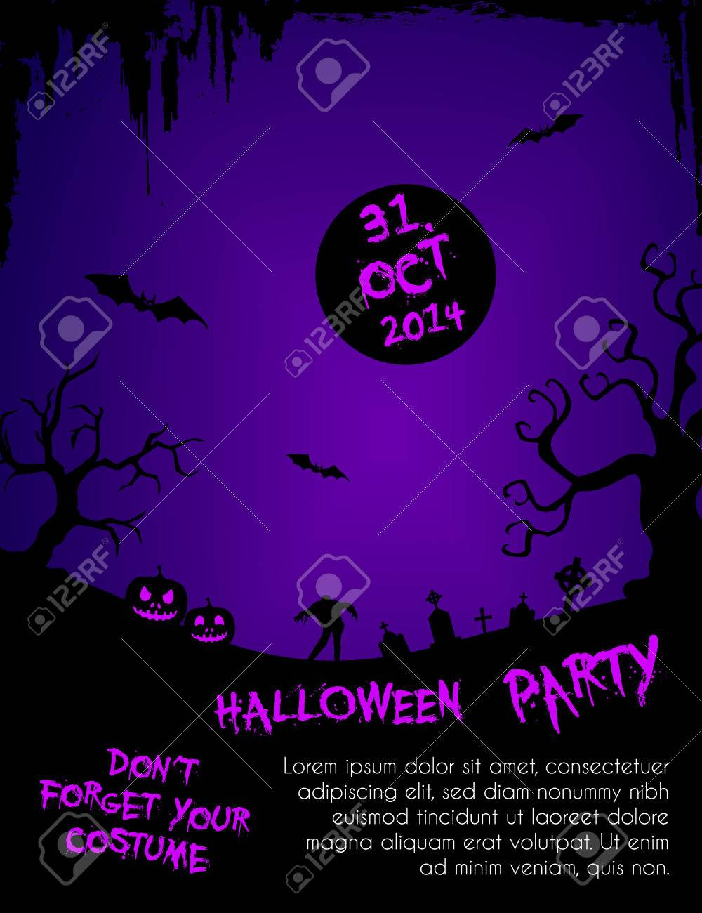 halloween party flyer template purple and black royalty free