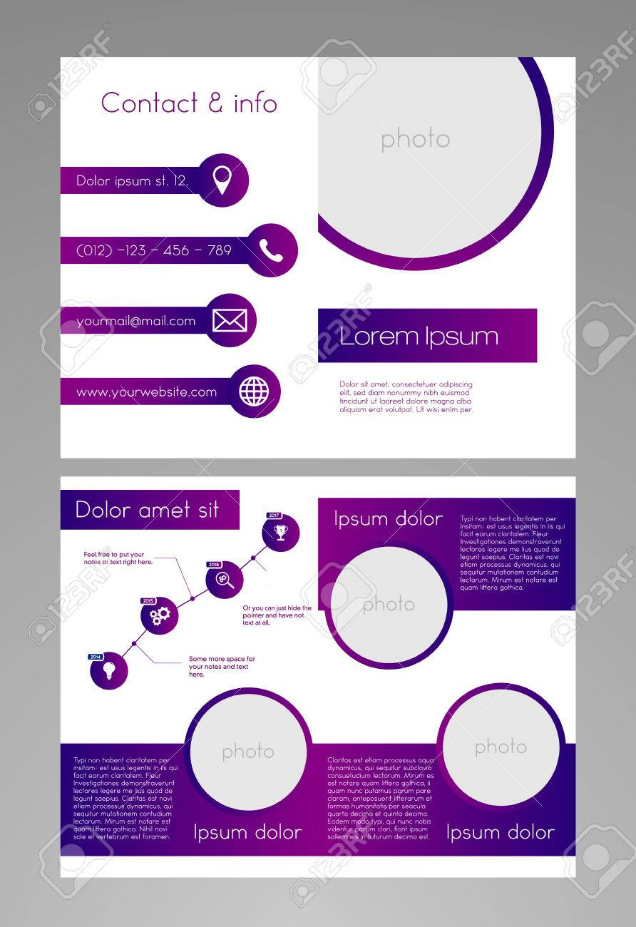 brochure template modern purple white design 8 5 x 11 inches